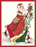 "Caspari Christmas Cards ""Elegant Santa"" Design, Box of 20 Cards with Envelopes"