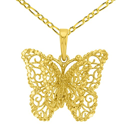 """14K Yellow Gold Textured Filigree Butterfly with Four Wings Pendant Figaro Necklace, 22"""""""