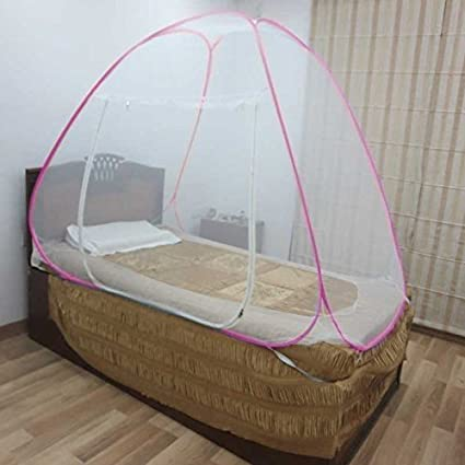 Healthgenie Premium Foldable Mosquito Net for Single Bed - Pink
