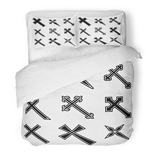 SanChic Duvet Cover Set Cross Christian Crosses Catholic Religious Tattoo Symbol Shape Decorative Bedding Set with 2 Pillow Shams Full/Queen Size by SanChic