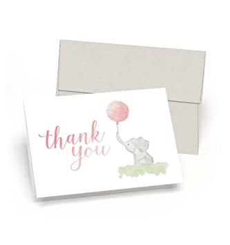 Beautiful Baby Shower Thank You Cards (Set Of 10 Cards + Envelopes)    Watercolor