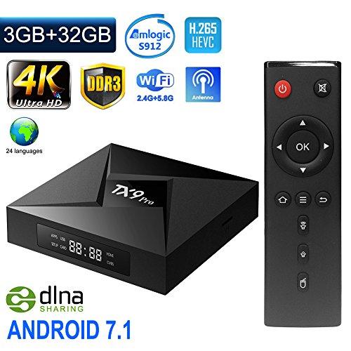 ESHOWEE TX9 PRo Android 7.1 TV Box Amlogic S912 Octa-core CPU DDR3 3GB RAM 32GB ROM BT 4.0 2.4/5 Dual-Band WiFi 4K UHD and LAN VP9 DLNA H.265