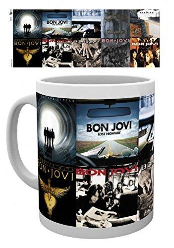 Set: Bon Jovi, Albums Photo Coffee Mug (4x3 inches) And 1x 1art1 Surprise Sticker -