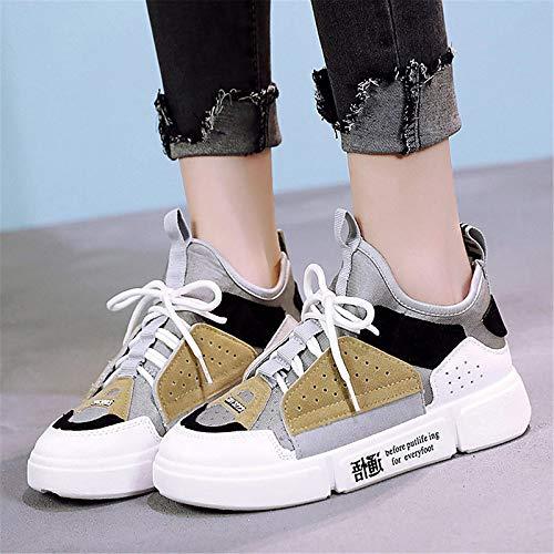 ZHZNVX Zapatos de Mujer de imitación de Cuero de Primavera y Verano Comfort Sneakers Flat Heel Blanco/Gris / Azul Gray