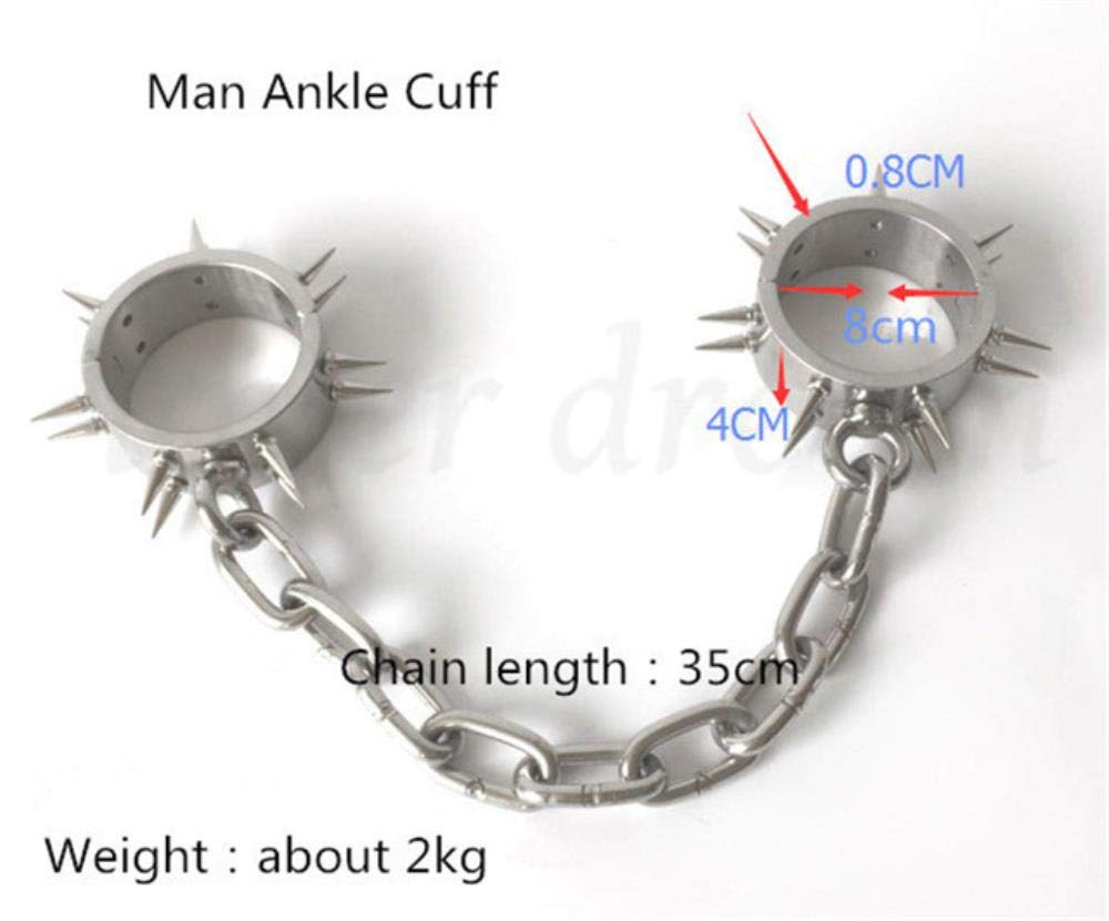 Maclea Stainless Steel Fetish Slave Restraint Handcuffs Ankle Cuffs Collar with Thorn Couples BDSM Bondage Adult Sex Toys for Woman Men,Man Ankle Cuff