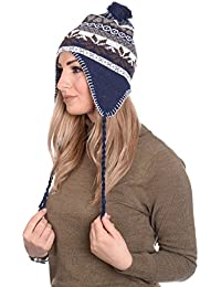 Martildo Knitted Fair Isle Pom Pom Hat With Ear Flaps