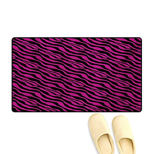 Bath Mat,Wild Zebra Background Stripes Savannah African Exotic Youth Culture Hippie,Door Mat Outside,Magenta Onyx,32