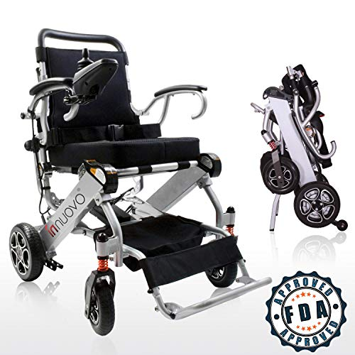 - 2019 UPGRADED Folding Electric Powered Wheelchair, Supports up to 265 lb, Weighs 50lb, Up to 12 Miles Range with 2 Batteries, Approved for Airplane Travel, Safe and Easy to Drive. Model N5513A