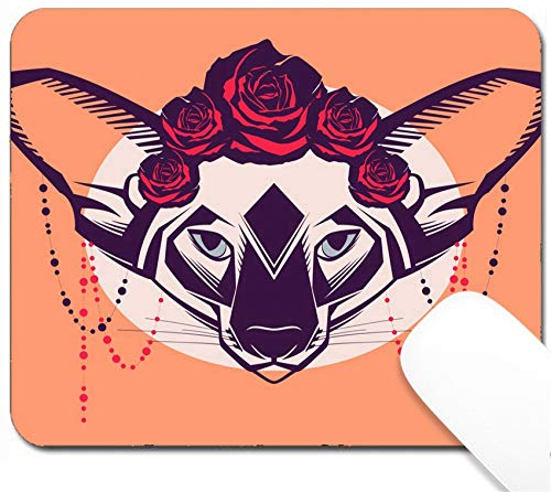 MSD Mouse Pad with Design - Non-Slip Gaming Mouse Pad - Image 30728555 Fashion Portrait of cat in a Wreath of Roses and Beads ()