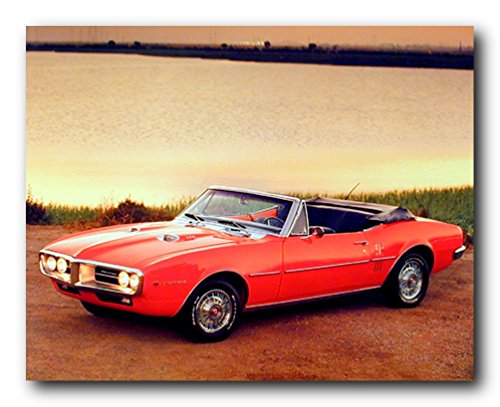 Vintage Car Wall Decor Picture 1967 Red Pontiac Firebird Convertible Art Print Poster (16x20)