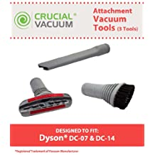 Dyson 3 Piece Attachment Set Designed To Fit Dyson DC07, DC14 Upright Vacuum Cleaners, Includes Crevice, Upholstery, & Brush Swivel Head Tool, Compare to Part # 904083-07, 900188-16, 907363-01, Designed & Engineered By Crucial Vacuum