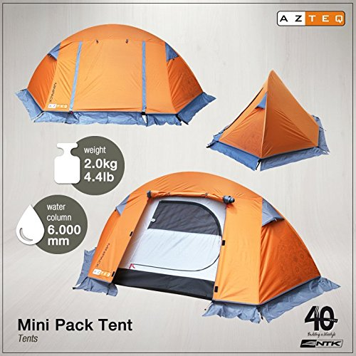 AZTEQ Minipack up 2 Person 8.3 by 4.6 Foot Sport Camping Tent 100% Waterproof 6000mm by Azteq