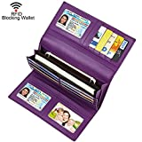 Dante Women RFID Blocking Real Leather Trifold Wallet - Clutch Checkbook Wallet for Women - Shield Against Identity Theft(Purple)