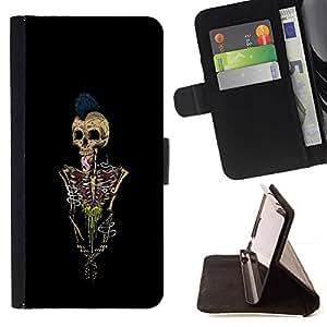 Momo Phone Case / Flip Funda de Cuero Case Cover - Paint Esqueleto Punk Rock Cráneo Negro - MOTOROLA MOTO X PLAY XT1562
