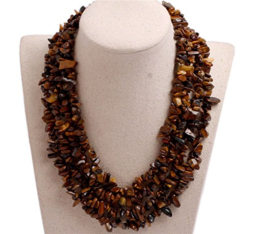 GEM-inside Gemstone Necklace Yellow Tiger Eye Beads Chips Charm Fashion Bohemia Statement Hyperbole Bib Stand String Beaded Necklace Crystal Unisex 18-21 Inches