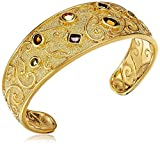 "18k Gold and Fine Silver Plated Brass Matte Finish Art Glass Estate Vintage Cuff Bracelet, 7.25"""