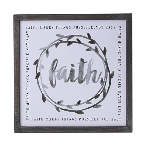 NIKKY HOME Wood Framed Wall Art Print with Inspirational Quote Faith Makes Things Possible Not Easy ()