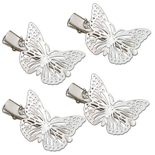 RechicGu Silver Pack of 4 Filigree Butterfly French Updo Hair Pin Clip Dress Snap Barrette