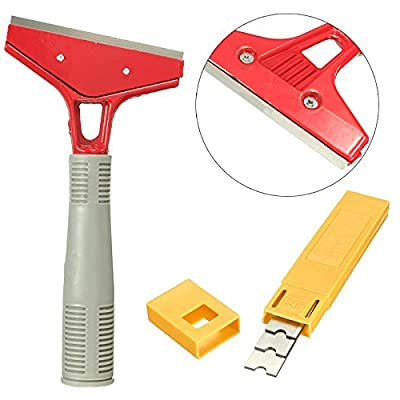 Long Reach Floor Razor Blade Scraper Extended Handle & 10pcs Spare Blades For Floor Cleaning Tools