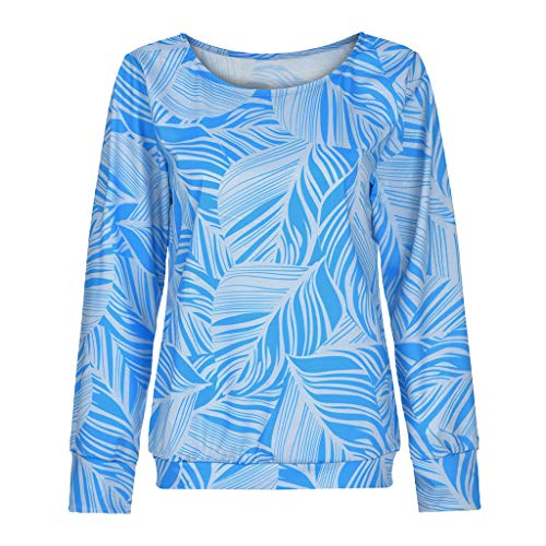 Plus Size Floral Print Top Women Loose Casual Long Sleeve Round Neck Blouse