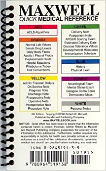 Maxwell Quick Medical Reference, 6th Spiral Edition, FREE SHIPPING