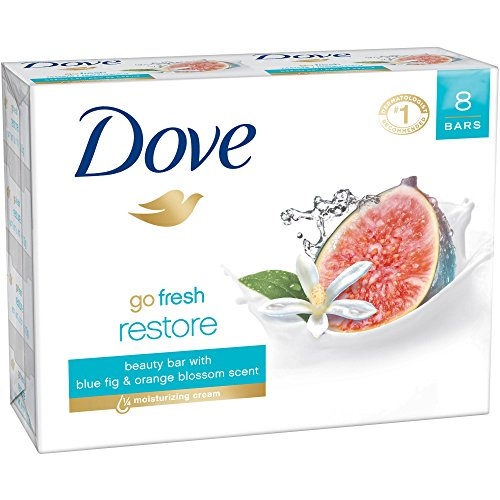 Dove Bar Soap Go Fresh Restore with Blue Fig & Orange Blossom Scent 8 Count , 3.52 Oz Each