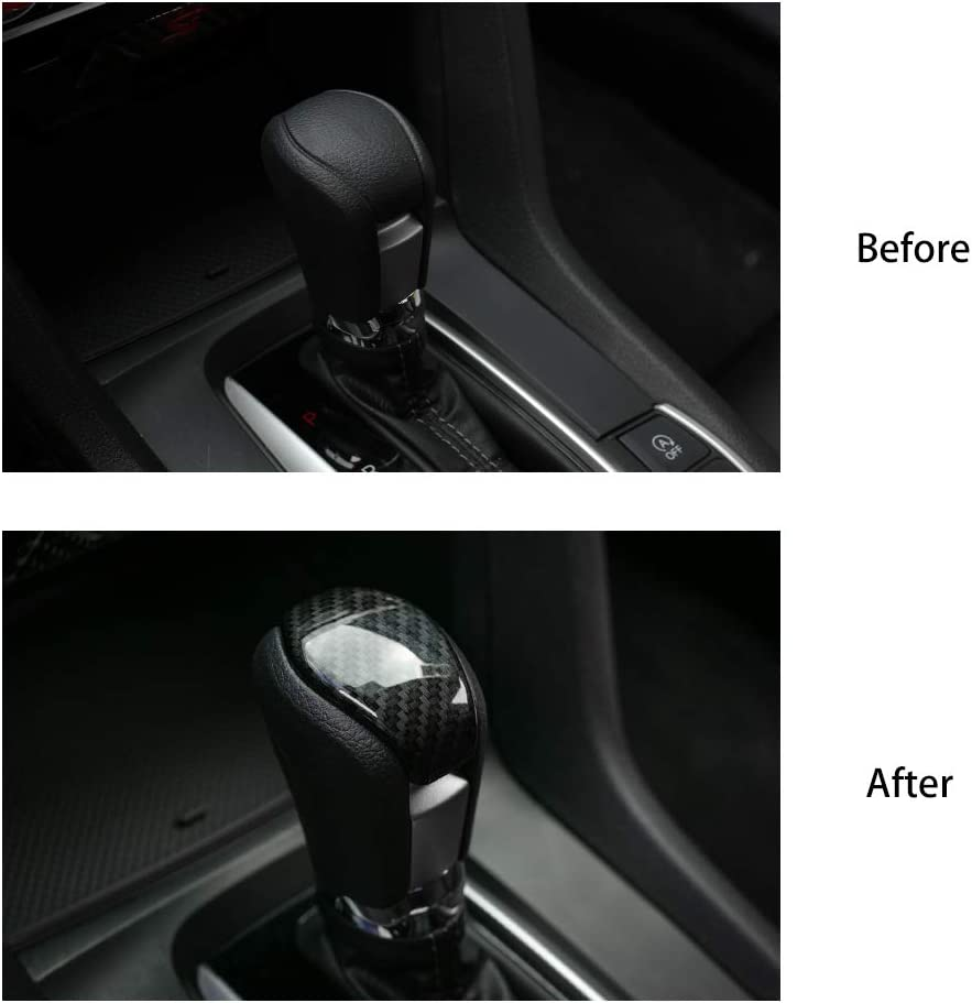Thenice 10th Gen Civic Shift Konb Cover ABS Carbon Fiber Style Gear Shifter Knob Decorative Trim for Honda Civic Sedan 2019 2018 2017 2016 Automatic Transmission