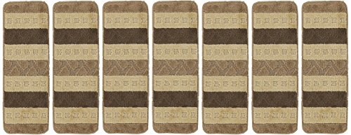 "Ottomanson Softy Stair Treads Brown Striped Design Skid Resistant Rubber Backing Non Slip Carpet (9""x26"") Stair Tread Mats 7 Piece Set"