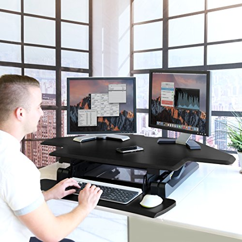 Seville Classics OFF65869 Airlift 43'' Gas-Spring Adjustable Cubicle Corner Standing Desk Ergonomic Workstation with Keyboard Tray (Max Height 19.7''), Black by Seville Classics (Image #2)