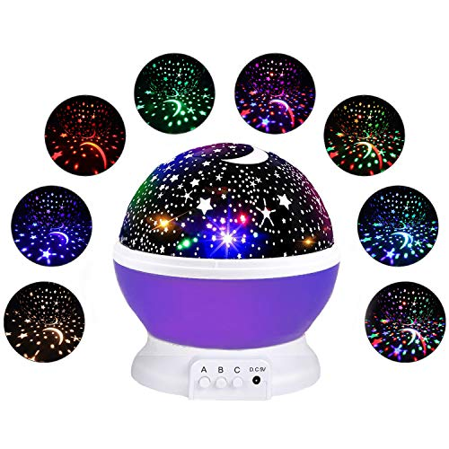 CANDA Star Projection Light Gifts for 3-12 Year Old, Starry Light Lamp Rotating Moon Star Projector Night Light for Children Gifts for Boys Girls Age 3-12 Novel Toys for Little Boys Girls Purple (9 Moons Jewelry)