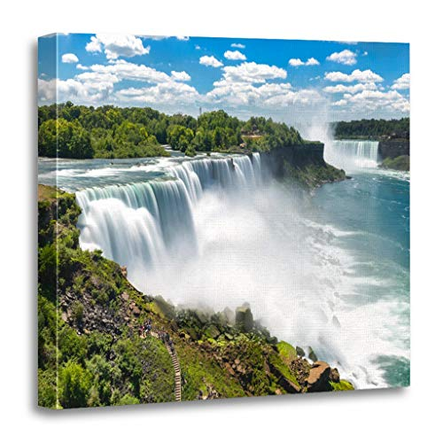 Emvency Painting Canvas Print Wooden Frame Artwork Blue USA Niagara Falls Between United States of America and Canada Green Decorative 16x16 Inches Wall Art for Home Decor -