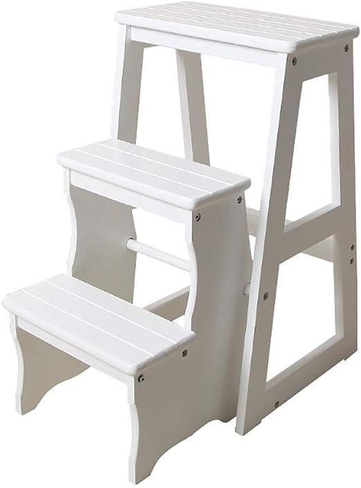 SEESEE.U Taburete con peldaños Escalera con peldaños de Tres Niveles Escalera con Taburete Escalera de Cocina de Madera Maciza Taburete Estantes Plegables Silla con Escalera Plegable multifunción: Amazon.es: Hogar