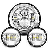 harley davidson fog lights - Sunpie 7 Inch Chrome Harley Daymaker LED Headlight+ 2x 4-1/2