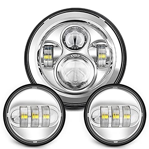 Sunpie 7 Inch Chrome Harley Daymaker LED Headlight+ 2x 4-1/2