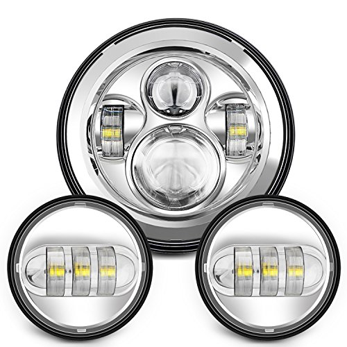 Sunpie 7 Inch Chrome Harley LED Headlight+ 2x 4-1/2
