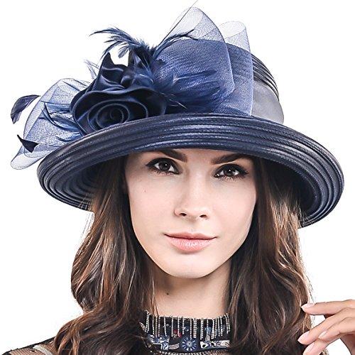 HISSHE Women Kentucky Derby Dress Church Wedding Party Feather Bucket Hat S608-A