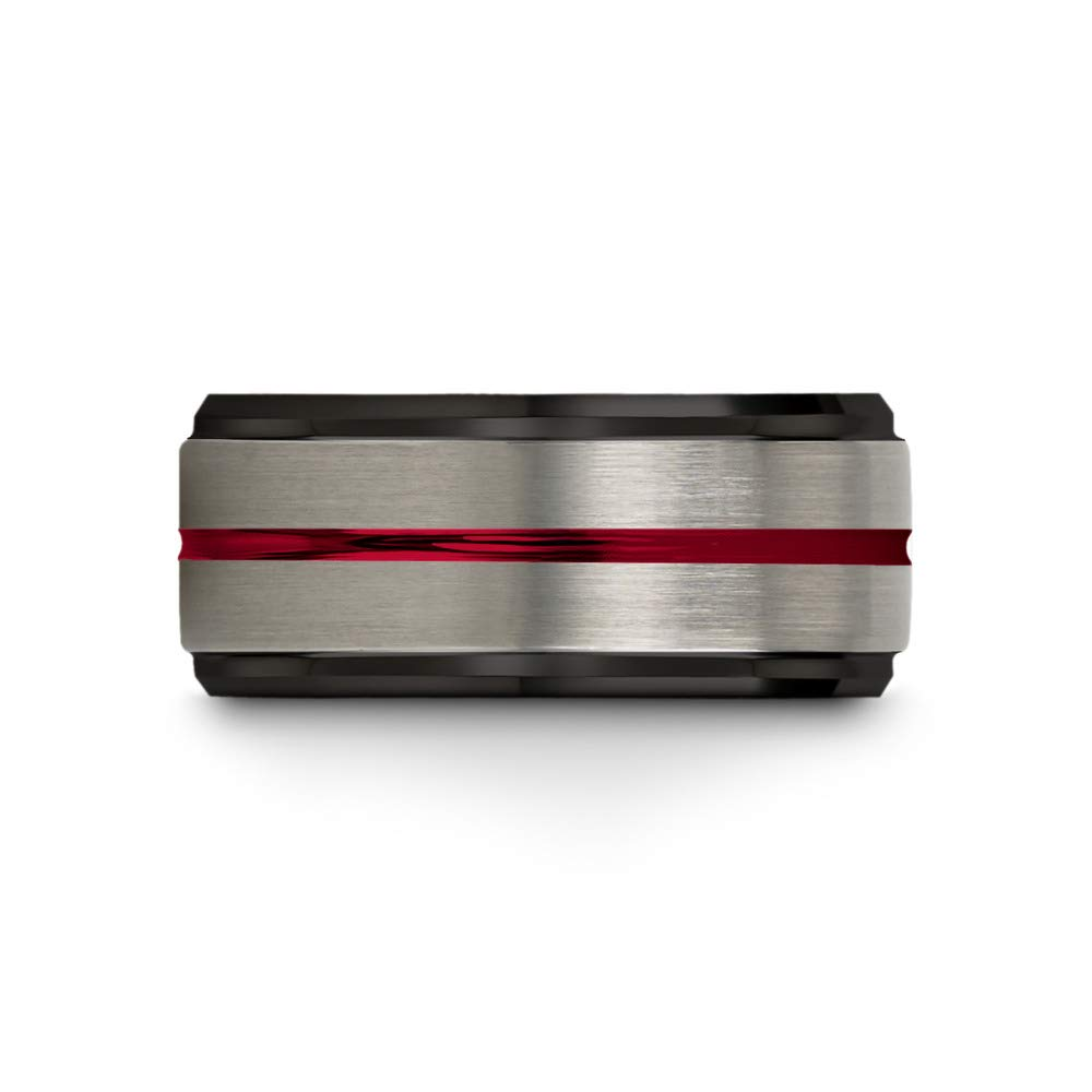Chroma Color Collection Tungsten Wedding Band Ring 10mm for Men Women Red Interior Red Center Line Step Bevel Edge Black Grey Brushed Polished Size 10 by Chroma Color Collection (Image #3)