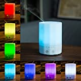 Deerbird 200ML White Aroma Diffuser Essential oil Diffuser Electric Ultrasonic Cool Mist Humidifier Aromatherapy Air Purifier with 7 Color LED Lights Changing and Waterless Auto Shut-of