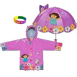 Kidorable Dora The Explorer Raincoat WITH Umbrella (3T)