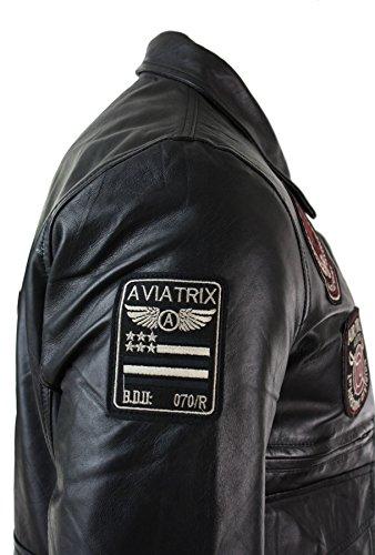 Aviatrix Blouson Homme Cuir véritable Bleu Badges Style Pilote air Force Bomber 3