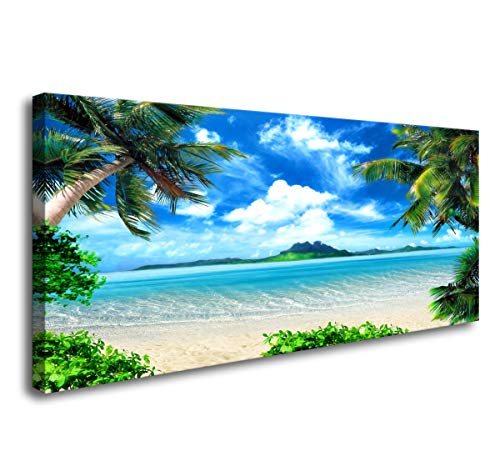 Coconuts On The Beach Halloween (S72774 Canvas Wall Art Ocean Waves Coconut Trees on Sands Beach Seascape Scenery Painting Nature Picture for Bedroom Home Office Wall)