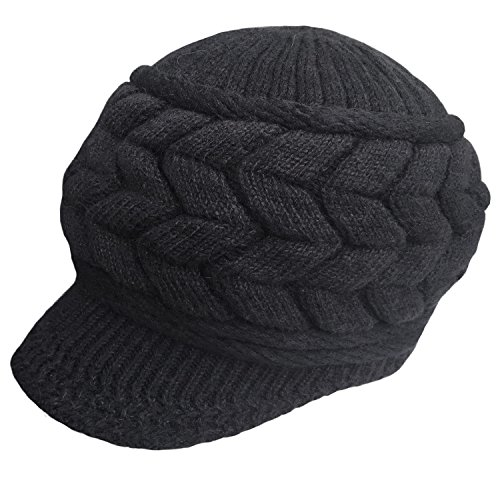 Loritta Womens Winter Warm Knitted Hats Slouchy Wool Beanie Hat Cap With Visor
