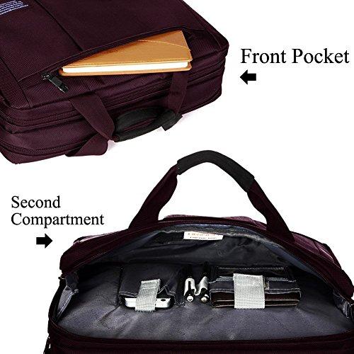 Hombres y Mujeres 15.6 Pulgadas Impermeable Nylon Bolsa de Mensajero Viajes de Negocios Tableta del Ordenador Portátil Bolso Bandolera puede convertirse en Mochila purpura