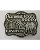 2013 HESSTON NATIONAL FINALS RODEO BELT BUCKLE *** HESSTON WRANGLER NFR -- Large Adult Buckle -- Steer Wrestling / Bulldogging