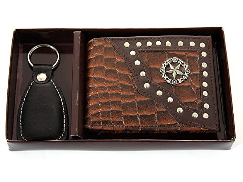 Men's Gift Box 7 Credit Card Slot Double Bill With Key Ring Wallet in Brown4.5x3.5 inches - Moka Gift Card