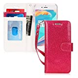 FYY Case for iPhone 6S Plus, [Kickstand Feature] Flip Folio Leather Wallet Case with ID and Credit Card Pockets for Apple iPhone 6/6S Plus (5.5'') Magenta