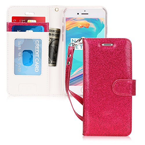 FYY Case for iPhone 6S Plus, [Kickstand Feature] Flip Folio Leather Wallet Case with ID and Credit Card Pockets for Apple iPhone 6/6S Plus (5.5'') Magenta by FYY