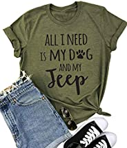 All I Need is My Dog Letter Print T Shirt Women Funny Saying Short Sleeve Tops Tee
