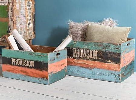 Wohnling Caja de madera Surat 2 Juego de mesa auxiliar madera maciza Shabby Chic, caja de