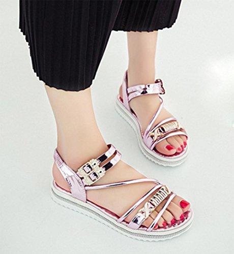 mujeres de las sandalias del verano del rhinestone de los zapatos de cuero sandalias de patente hebilla hembra confortables estudiantes Pink